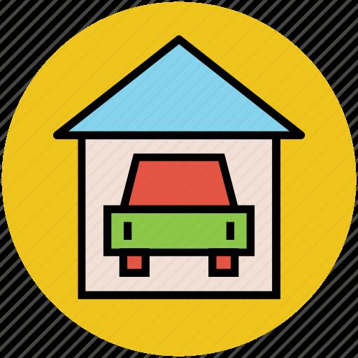 car, car in garage, garage, home garage, parking lot, porch icon