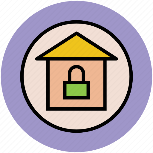 home, lock sign, safe home, secure home icon