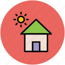 building, home, house, house with sun, sunshine icon