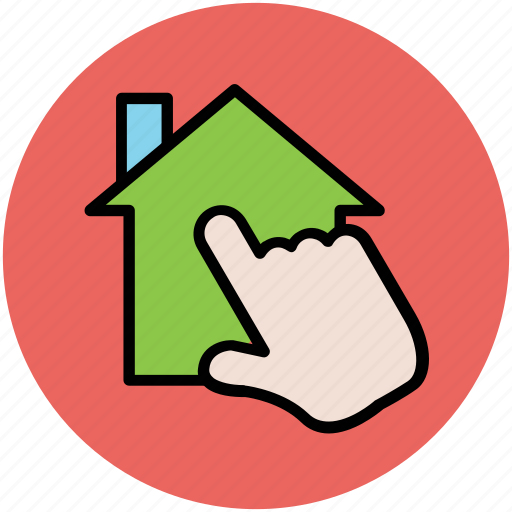 finger touch, gesture, hand touch, house pointing, online property icon