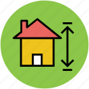 arrow, arrow sign, home measurement, house measurement icon