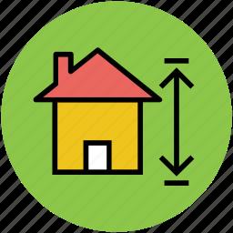 arrow, arrow sign, home measurement, house measurement icon