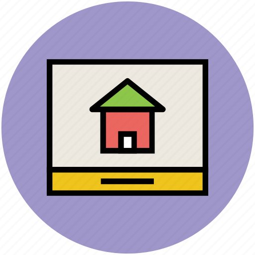 find home, house display, lcd screen, search house icon