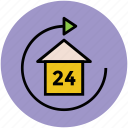 home, hotel service, house, refresh, rotating sign, twenty four hours icon