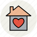 cottage, favourite house, heart, heart house, home, house, hut, like icon