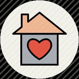 cottage, favourite house, heart, heart house, home, house, hut, like icon