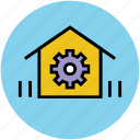 cog, garage, gear, home, home option, house, work home icon