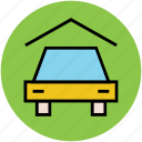 car, car in garage, garage, home, parking lot, porch icon