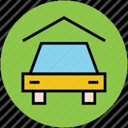 car, car in garage, garage, home, parking lot, porch icon