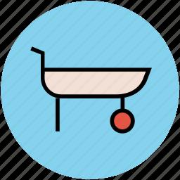 barrow, construction tool, garden wheel barrow, hand barrow, wheelbarrow icon