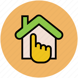 finger touch, gesture, hand touch, house pointing icon
