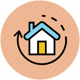 home, house, refresh, rotating sign icon