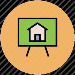 apartment, house board, presentation, presentation board, property presentation, real estate icon