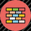 bricks, construction, real estate, under construction, wall icon
