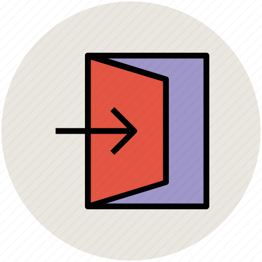 door open, enter sign, entrance, house door, login icon