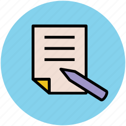 doc, document, paper, pen, pen and document, text, writing icon