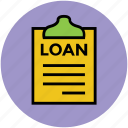 clipboard, description, document, loan report, report icon