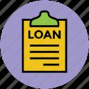 clipboard, description, document, loan report, report icon