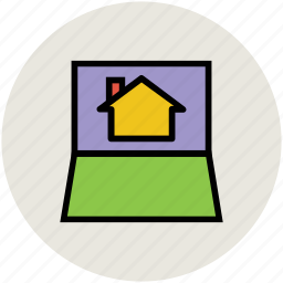 finding, home, internet, laptop, online, services icon