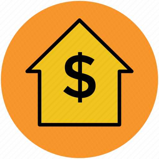 bank, dollar sign, home, home price, invest house, real estate, trading center icon