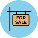 for sale, for sale board, information, real estate, signboard icon