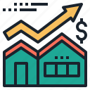 estate, house, market, price, real, stock icon