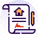 contract, document, home, house, property, real estate, sign icon