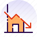 decrease, deficit, home, house, loss, property, real estate icon