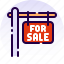 for sale, home, house, property, real estate, sale, sign icon