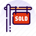 home, house, property, real estate, sell, sign, sold icon