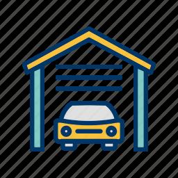 car garage, garage door, home garage, house garage, parking, parking garage, workshop icon