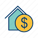 dollar house, house, property icon