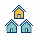 community, houses, neighborhood, neighbors icon