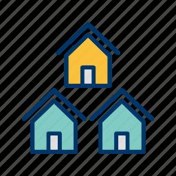 community, houses, neighborhood, neighbors icon
