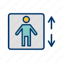 down, elevator, escalator, lift, up icon
