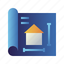 blueprint, design, home, house, plan, property, real estate icon