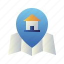 home, house, location, map, pin, property, real estate icon