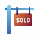 home, house, property, real estate, sell, sign, sold