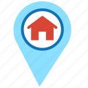 home, house, location, location market, map, pointer icon