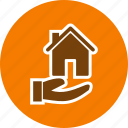 house in hand, house on hand icon