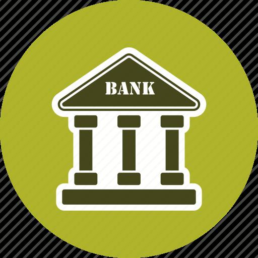 bank building, banker, business, finance, money, piggy bank icon