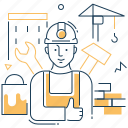 builder, construction, site, worker icon