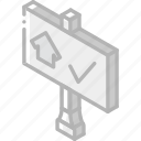 building, iso, isometric, real estate, sign, sold icon