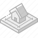 blueprint, building, house, iso, isometric, real estate icon