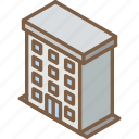 appartments, building, iso, isometric, real estate icon