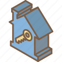 building, house, iso, isometric, key, real estate icon