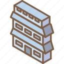 building, iso, isometric, real estate icon