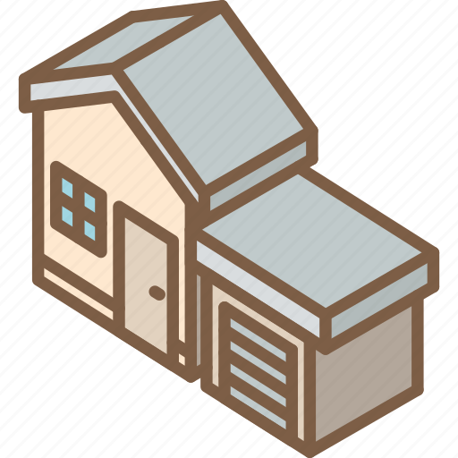 building, garage, houses, iso, isometric, real estate icon