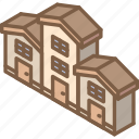 building, houses, iso, isometric, real estate icon