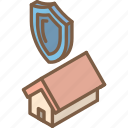 building, iso, isometric, protected, real estate, sale icon